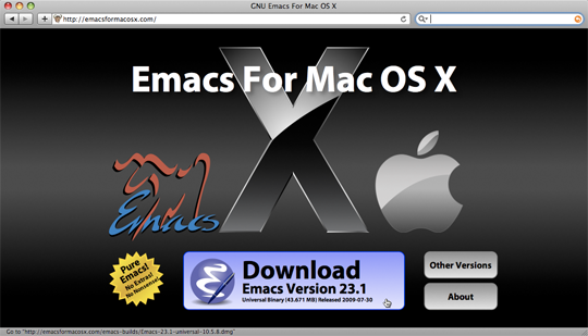 Fig 1. Snapshot del sito EMACS for OS X