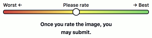 "Lo slider modificato seguito dal testo ""Once you rate the image, you may submit."""