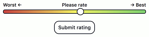 "Lo slider modificato seguito ora da un pulsante con la scritta ""Submit rating""."