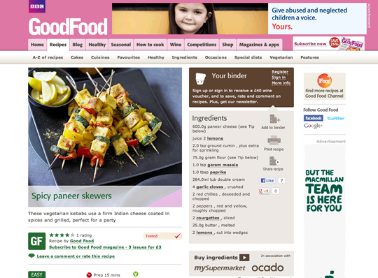 L'interfaccia del sito di BBC Good Food