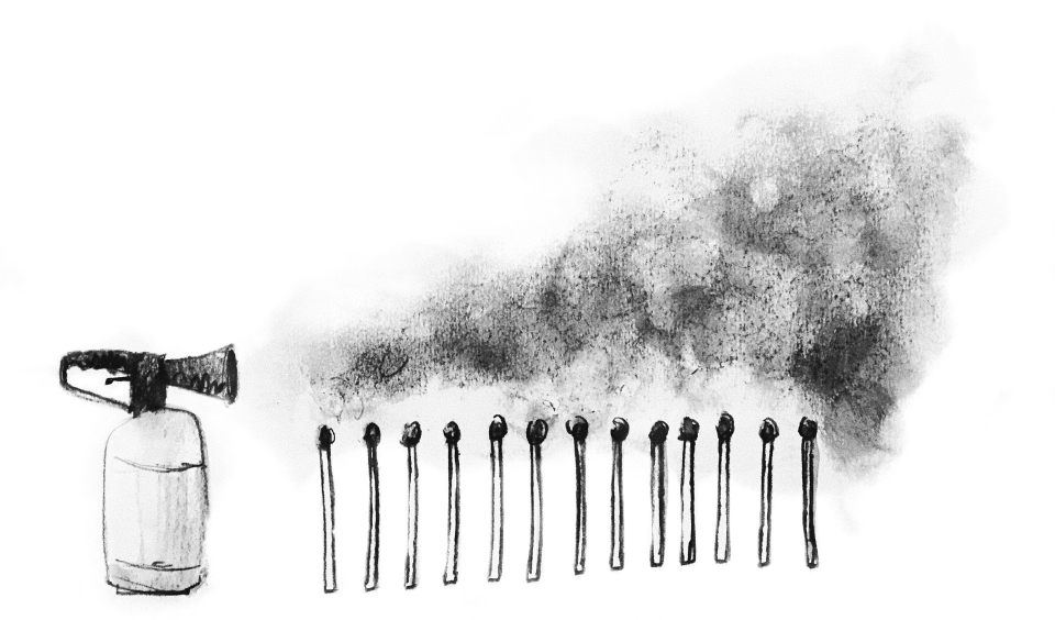 An illustration of a fire extinguisher positioned next two a row of matches that are all smoldering.