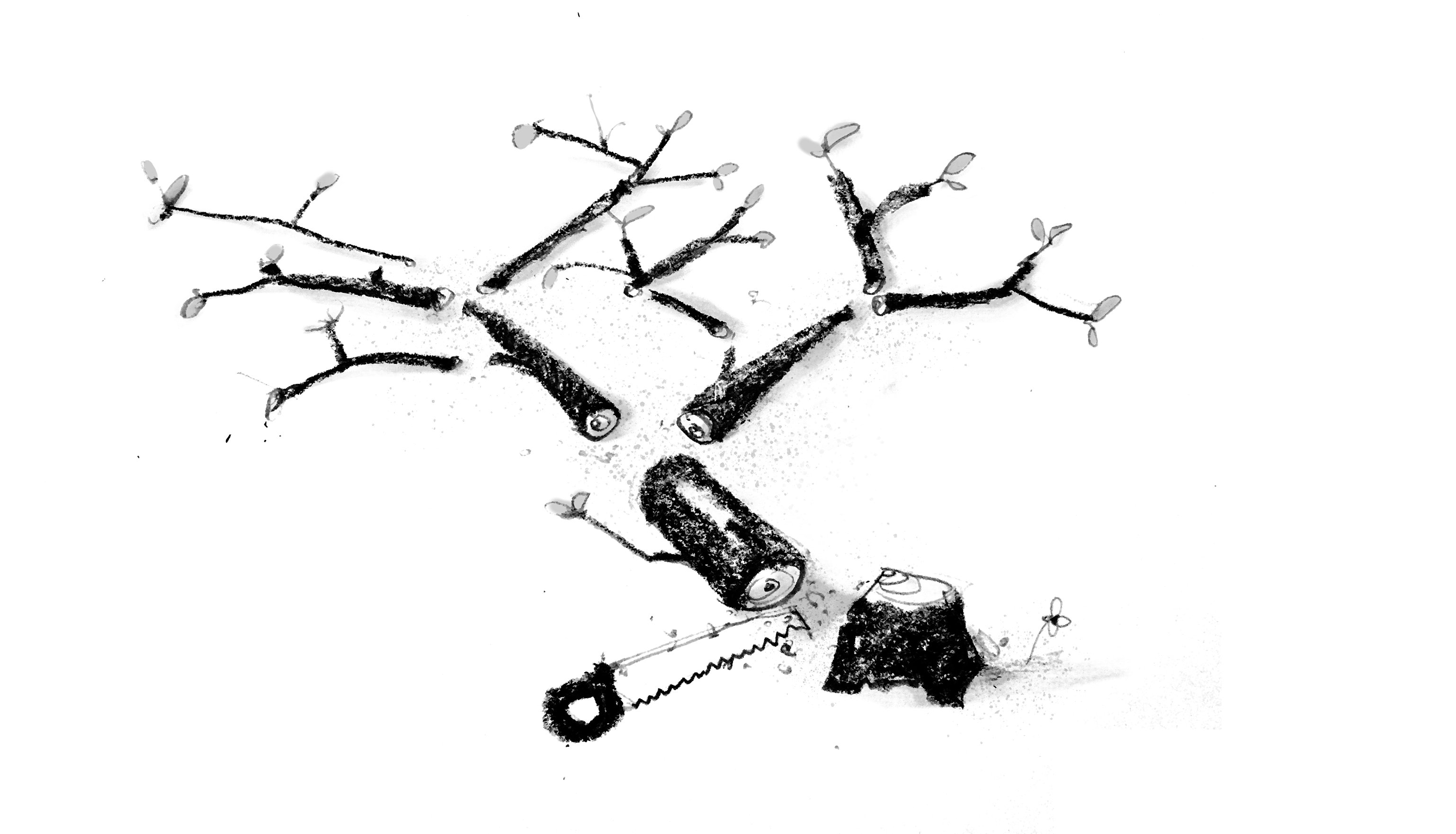 An illustration of a tree sawed at the trunk and in small pieces, with a handsaw nearby.