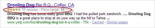 A rich snippet on Google