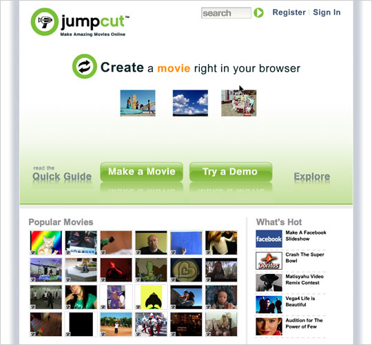 Jumpcut encourages users to create a movie right in their browser.