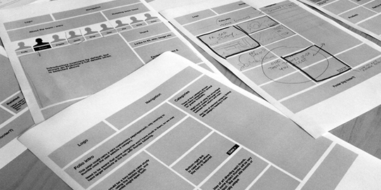 Example spread of collated wireframes and sketches