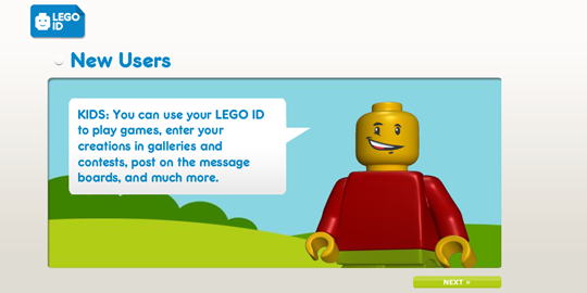 The LEGO ID registration, on the second animation screen.