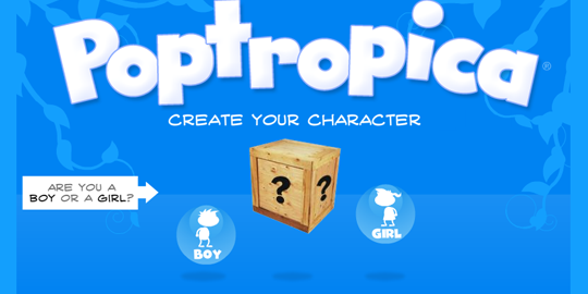 Creating a character on Poptropica.