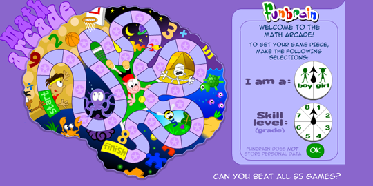 Funbrain's registration screen feels like a game.