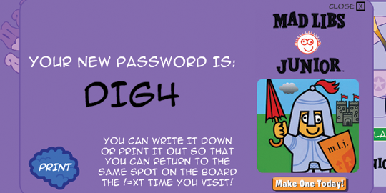 The Funbrain password screen assigns a system-generated password.