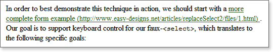 A sample of generated contentent from one link in a paragraph.