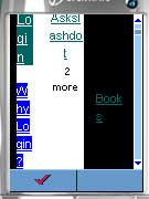 [Image shows detail of original Slashdot site as displayed in the Openwave Phone Simulator. The table-based layout displays text in two-letter sections, one above the next.]