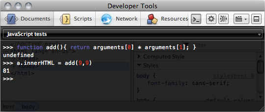 Overwriting a function using the JavaScript console.