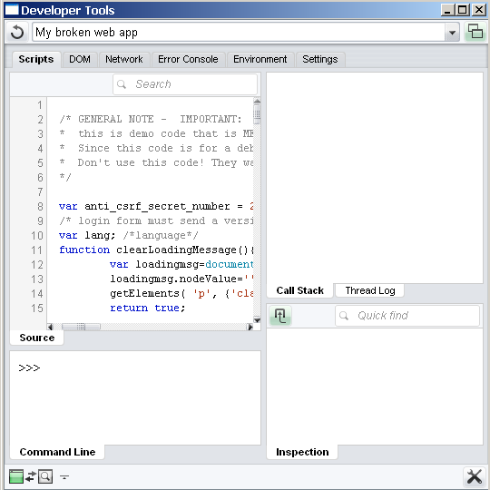 Dragonfly debugger with the first inline script in page selected