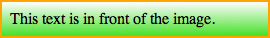 Example of text showing up in front of a PNG gradient.