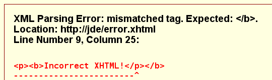 Screenshot of XML parse error for mismatched tags