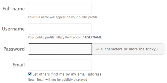 Twitter's signup page displays format requirements next to the password field
