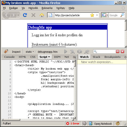 Firebug debugger with script tab open for source inspection