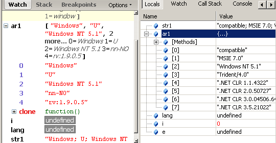 Firebug and IE8's local variables pane while running getLanguage function
