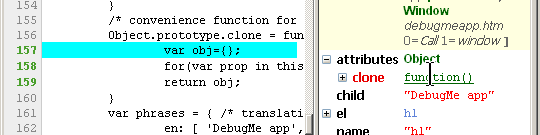 Firebug shows us where the clone property was defined