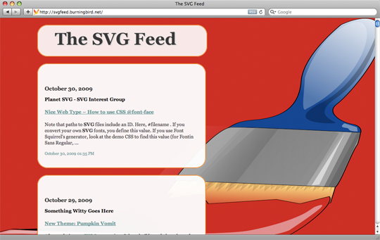 SVG Feed site with paintbrush background image