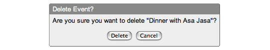 Google calendar warning dialog: Are you sure you want to delete 'Dinner with Asa Jasa'?