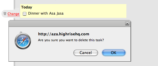 highrise warning: Are you sure you wnt to delete this task?