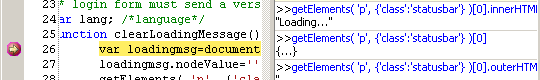 IE8 debugger command line with outerHTML output