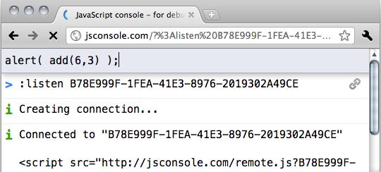 Sending a command using JSConsole.com