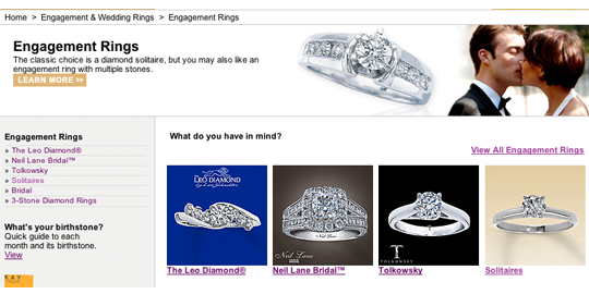 Kay Jewelers Engagement Ring Interface Design