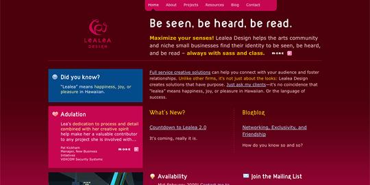 Screenshot of LeaLea.net before the redesign
