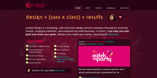 Screenshot of final home page