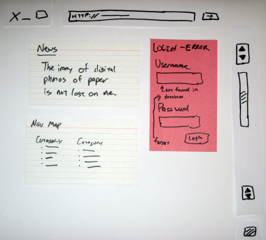 Photo of mockup drawn on paper