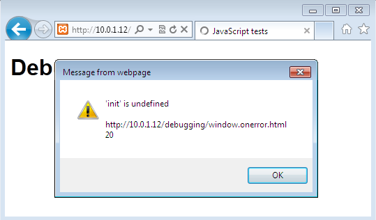 What our error looks like as an alert in Internet Explorer 9
