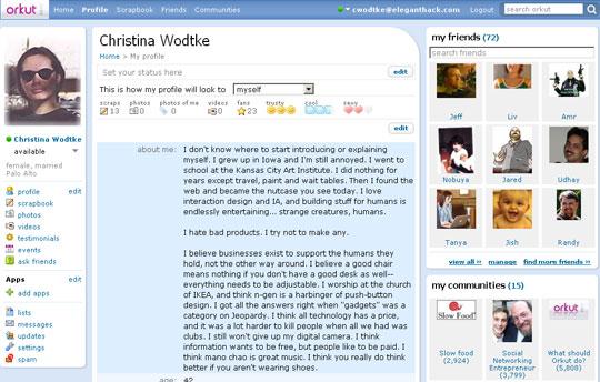 Orkut user profile