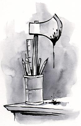 proofer's tools: pencils, pens, a bloody axe.