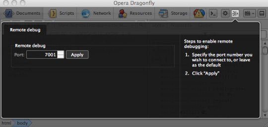 The remote debugging panel in Dragonfly