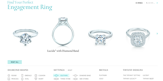 Tiffany's Engagement Ring Finder