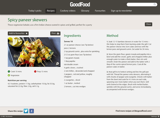 BBC Good Food Application Interface
