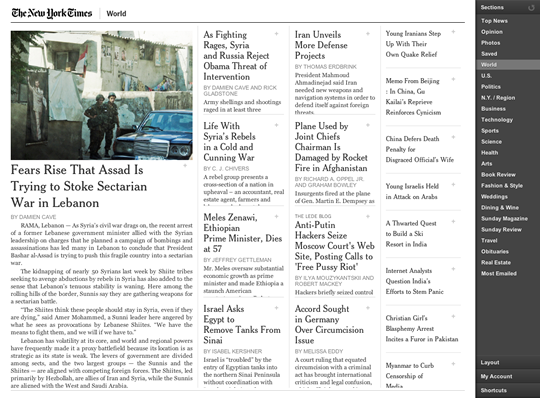 NY Times Application Interface