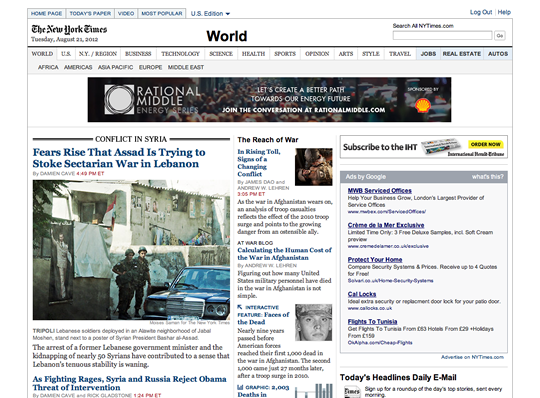 NY Times Website Interface