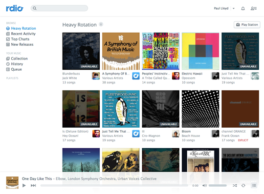 Rdio Website Interface