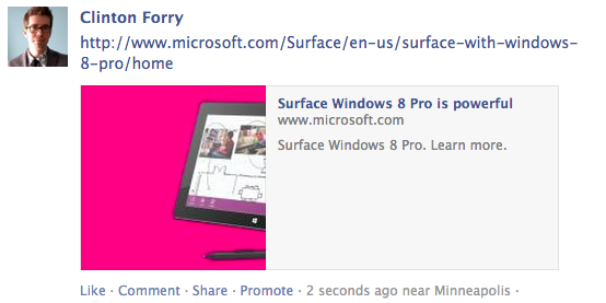 Facebook link to a Microsoft page