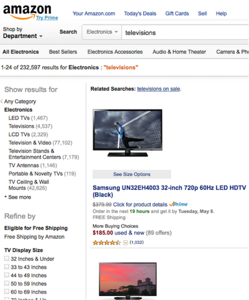 Image of Amazon search results