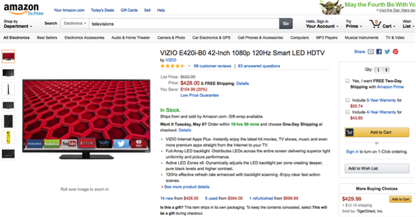 Screenshot of Amazon product page, showing product details