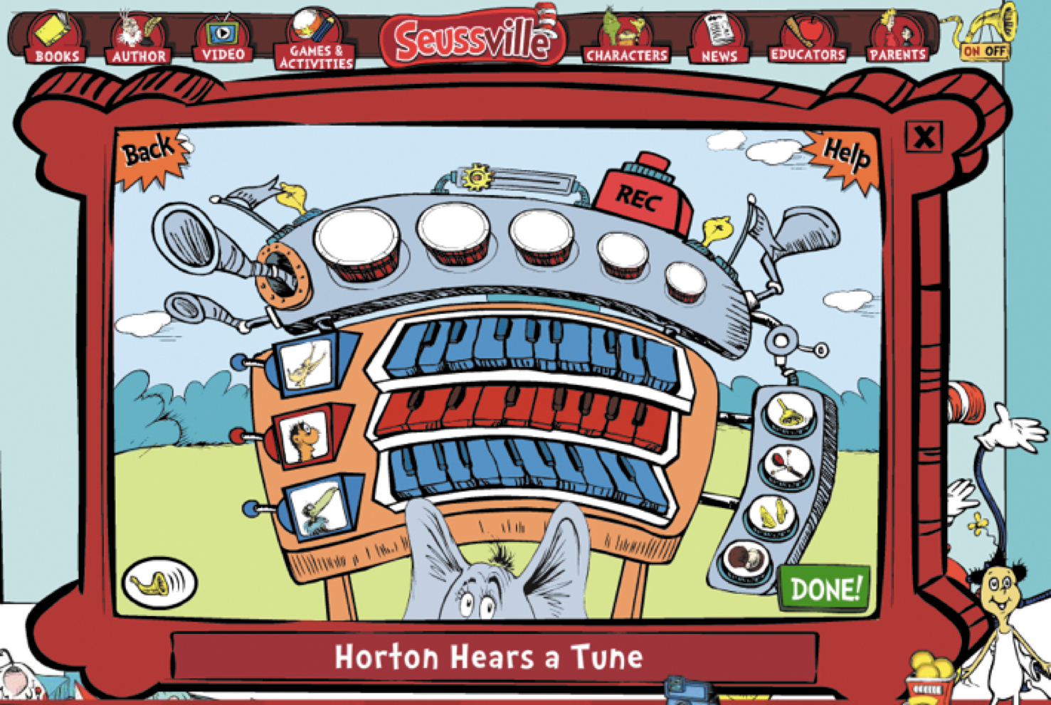 "Screenshot of ""Horton Hears a Tune"" on Seussville"