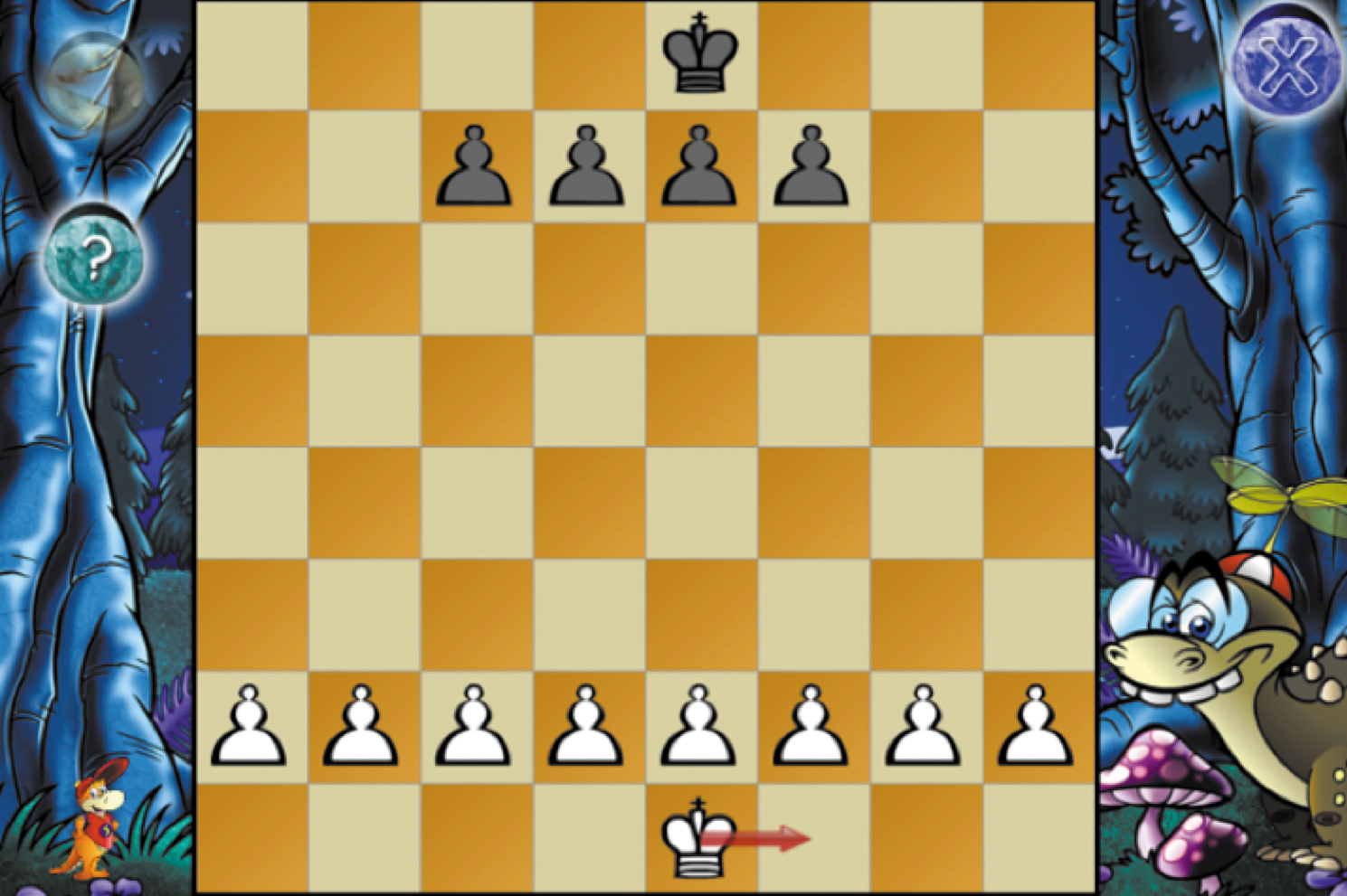 Screenshot of a chess game showing contextual help arrows