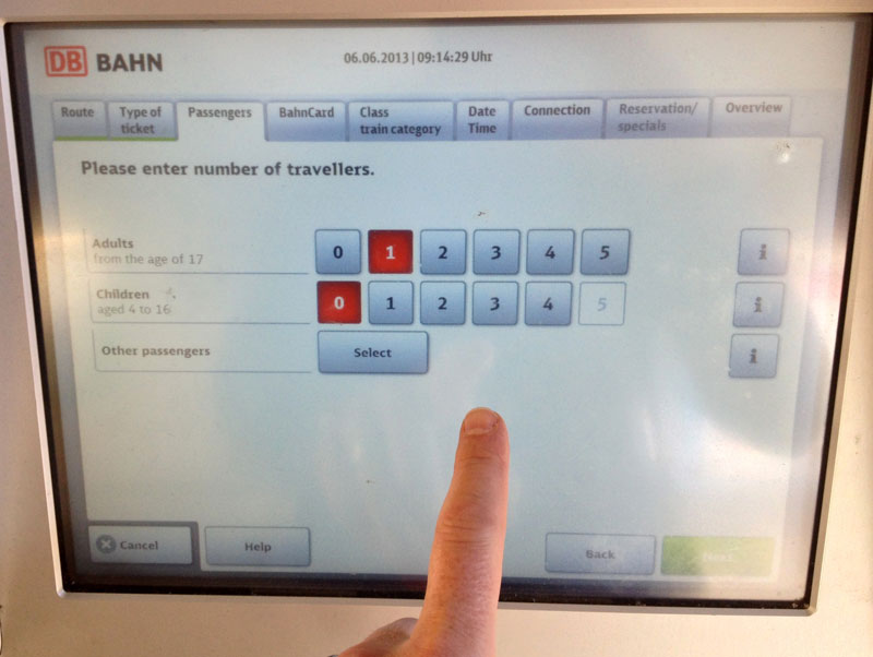 Sequenced tabs make for slow going with the new Deutsche Bahn ticket machines.