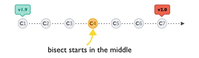 Illustration showing that the bisect begins between the versions.
