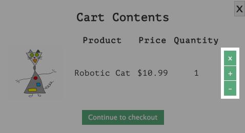 Cart dialog buttons.