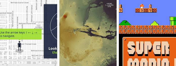 The variety of web maps: character navigation, Mars, and Super Mario Land.